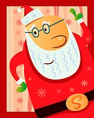 cartoon illustration of happy santa for your christmas greeting