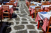 Cafe setting in the greek islands