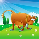 cartoon illustration of cow at the farm