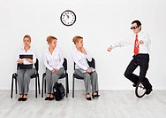 Employees with special skills wanted concept _ man with monocycle