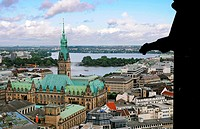 Panorama of Hamburg with Rathaus town hall and port  Made from the deck of old St Nikolai church