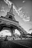 Bottom_Up view of Eiffel Tower in Paris, France
