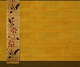 Flower Bamboo Banner on Yellow Ribbed Wood Textured Background