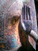 hand of bronze Thai Buddha