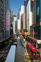 trams and buses in Central, Hong Kong