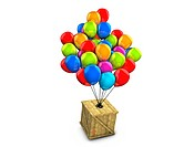 3d rendering, conceptual wooden box balloon delivery, isolated on white.