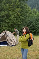 Portrait of Indian woman at campsite