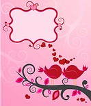 Two love birds sharing an intimate moment. Valentine card, love message.