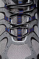 Closeup of running shoe laces