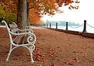 Promenade at Lake Balaton in autumn, Hungary