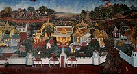 very nice thai fine art at temple wall
