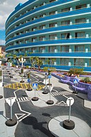 Las Americas beach Tenerife. Mare Nostrum hotel and karting circuit for children