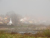 Svaneke on Bornholm in dense sea fog, Denmark