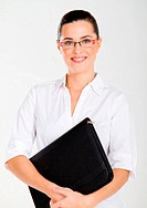 beautiful businesswoman with briefcase over white