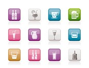 different kind of drink icons _ vector icon set