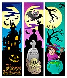 Halloween banners set 6 _ color illustration.