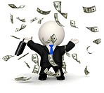 3D business man under a dollar rain _ isolated over a white background