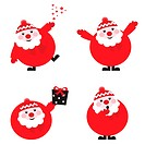 Vector illustration of cute cartoon Santa Claus set in various poses, retro style.