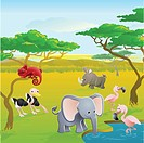 Cute African safari animal cartoon characters scene. Series of three illustrations that can be used separately or side by side to form panoramic lands...