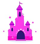 Wild pink Princess castle isolated on white background. Vector cartoon Illustration.