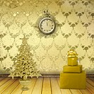 Christmas tree in the old room with clocks