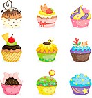 A vector illustration of different cupcakes designs