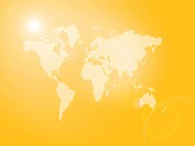 An orange illustration of a world map with lens flare