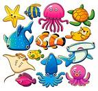 cartoon illustration of various sea animals collection