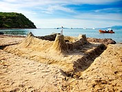 Sand castle on the sandy beach of the island of Susak, Croatia.