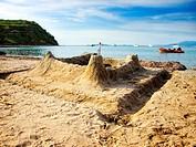 Sand castle on the sandy beach of the island of Susak, Croatia.