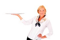 A picture of a pretty mature woman serving your product on a tray against white background