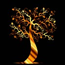Beautiful art tree isolated on black background