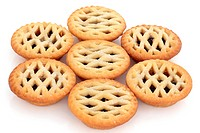 Latticed mince pie group isolated over white background. Selective focus.