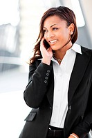 A shot of a beautiful black businesswoman on the phone