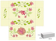 Stylized template for box with flowers