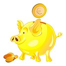 pig_piggy bank with gold coins isolated on a white background