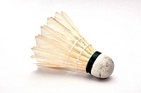 Badminton shuttlecock on white