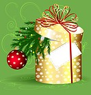 on a abstract background is a big yellow gift box with branch of Christmas tree inside