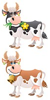 Cartoon cow in 2 versions. No transparency used. Basic linear gradients used.