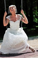 beautiful bride woman people in fashion wedding dress posing outdoor in bright park at morning