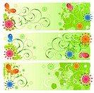 A set of three green summer banners