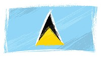 Saint Lucia national flag created in grunge style