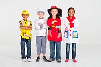 group of kids dress up as little workers in uniform