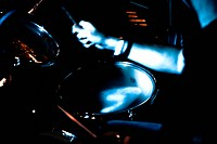 motion blur abstract of a musician the playing drums