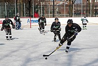 Detroit, Michigan - The annual Hockey in the Hood event, an ice hockey tournament of inner city teams with many African-American players  Here the Det...