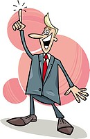 cartoon humorous illustration of young businessman with an idea