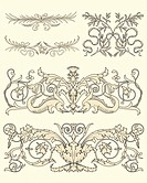 Set of five clasical ornamental design vector
