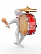Man with drum and drumstick on white isolated background. 3d