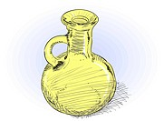 Small yellow glass carafe _ vector rough illustration