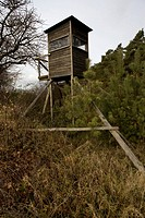 A hunting tower in a field